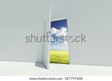 COnceptual image showing a door leading to another space. - stock photo