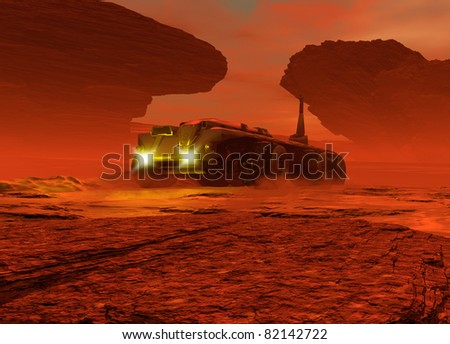 Conceptual image showing a large vehicle moving over the surface of the planet Mars
