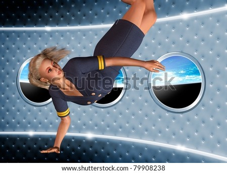 Conceptual image showing a space air hostess in zero gravity  with a view out of the spaceship window of planet earth.