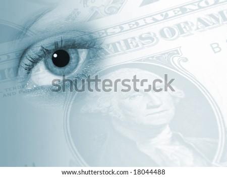 Conceptual image showing eye overlaid over US Dollars - stock photo