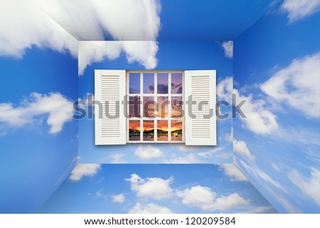 Conceptual image - window in sky - stock photo