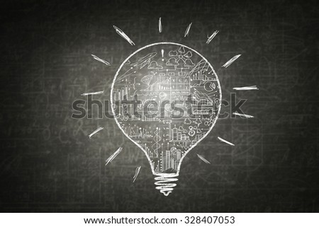 Conceptual image with business strategy sketches on blackboard  background