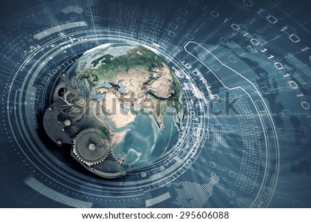 Conceptual image with Earth planet made of gears. Elements of this image are furnished by NASA - stock photo