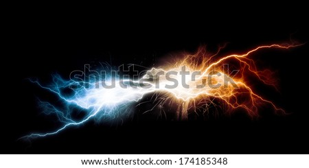 Conceptual image with flash of lightning against dark background - stock photo