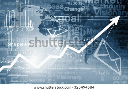 Conceptual image with global financial charts and graphs