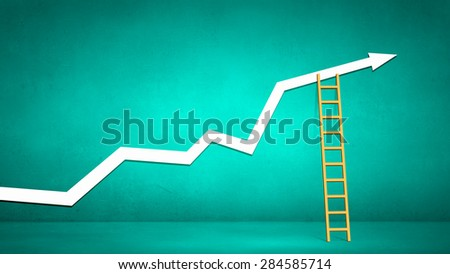 Conceptual image with ladder reaching increasing graph - stock photo