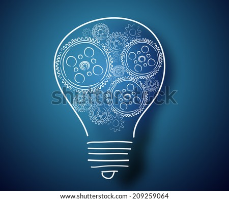 Conceptual image with light bulb and cogwheels on blue backdrop - stock photo