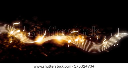 Conceptual image with music clef and notes - stock photo