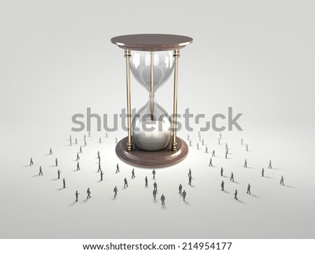 Conceptual image with sandglass and silhouettes of business people around