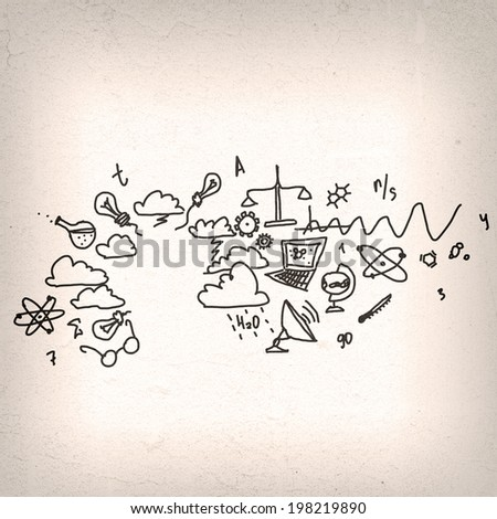 Conceptual image with science sketches on white backdrop - stock photo