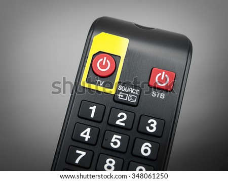 Conceptual image with SIM card frame and TV remote control. - stock photo