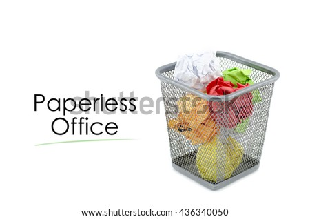 """conceptual image with word """"PAPERLESS OFFICE"""" over crumple paper in metal dustbin and isolated white background - stock photo"""