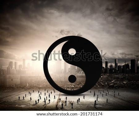 Conceptual image with yin yang sign and silhouettes of businesspeople around - stock photo