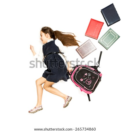 Conceptual isolated photo of cute schoolgirl running to school with backpack - stock photo