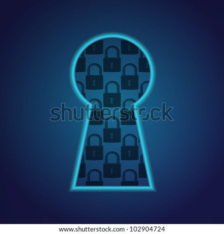 Conceptual key hole with lock fragment. (Raster version). Eps10 - stock photo