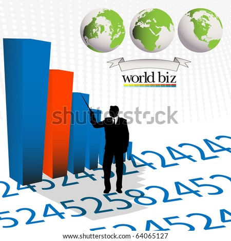 Conceptual layout with a business man presenting statistic bars - stock photo