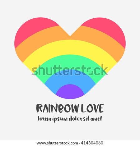 Conceptual logo with a rainbow heart. Simple flat icon with heart in rainbow colors of LGBT flag. Gay and lesbian support symbol. Design element for posters, banners and prints devoted on LGBT theme - stock photo