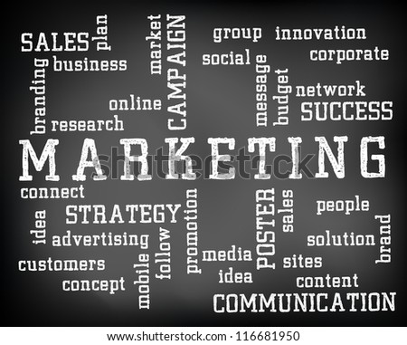 conceptual marketing word cloud written on stock illustration