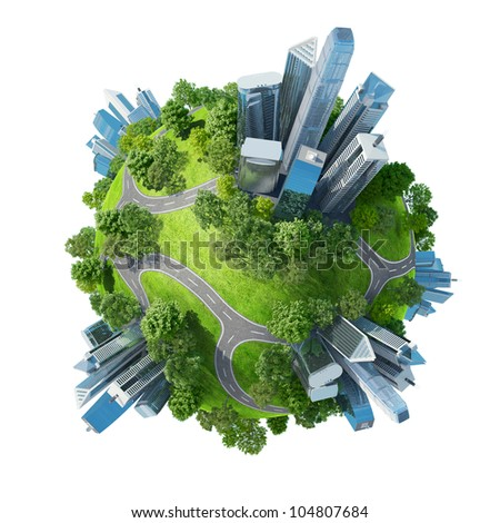 Conceptual mini planet green parks along with skyscrapers and roads. Calmness in city chaos. One of a series. Isolated. - stock photo