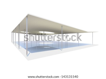 Conceptual modern building with column on white background