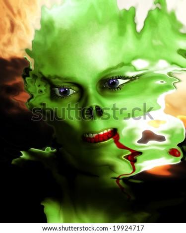 Conceptual monster for Halloween - stock photo
