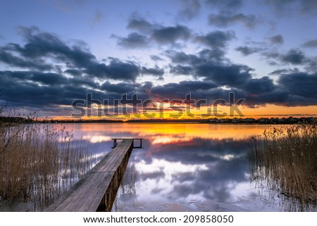 Conceptual Mood Concept Colorful Sunset - stock photo