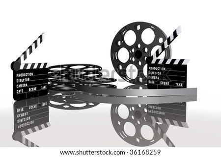 conceptual motion picture set,  with film rolls and movie clappers - stock photo