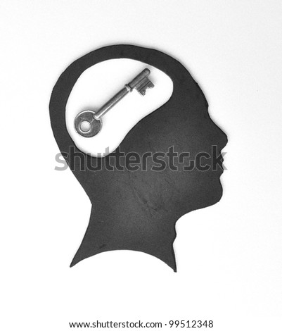 Conceptual of the key is your brain - stock photo