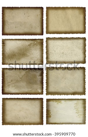 Conceptual old vintage dirty grungy paper background set or collection isolated on white background ideal for antique, grunge, texture, retro, aged, ancient, dirty, frame, manuscript material designs - stock photo