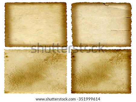Conceptual old vintage dirty or grungy paper background set collection isolated on white background ideal for antique, grunge, texture, retro, aged, ancient, dirty, frame, manuscript material designs - stock photo