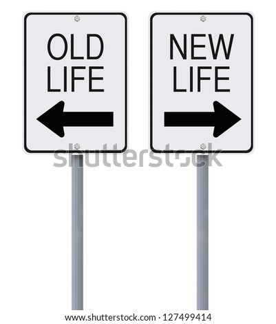 Conceptual one way signs on change or choices - stock photo