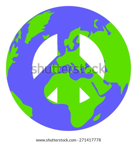 Conceptual pacific sign. Symbol of peace in the globe form. - stock photo