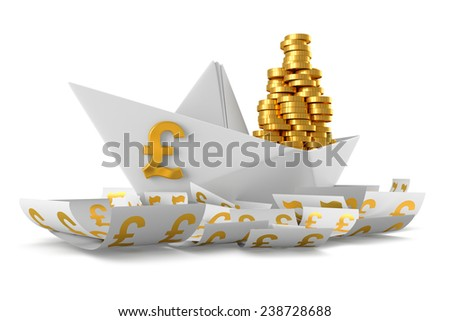 Conceptual paper boat floating in the currency Pound sterling and carries a large pile of coins isolated on a white background - stock photo