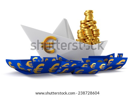 Conceptual paper boat floating in the euro currency and carries a large pile of coins isolated on a white background - stock photo