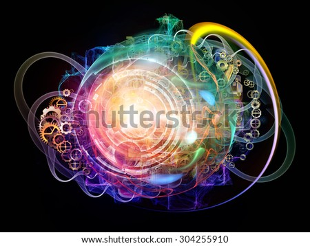 Conceptual Particle series. Arrangement of fractal and conceptual elements on the subject of science, information technology and design - stock photo