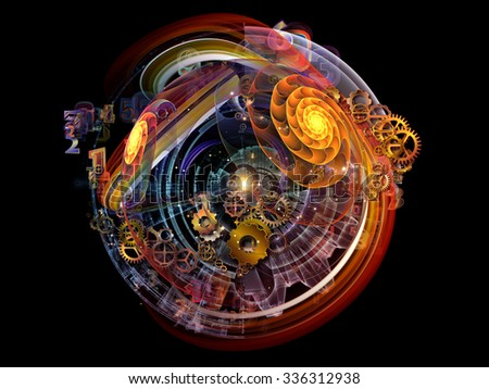 Conceptual Particle series. Design composed of fractal and conceptual elements as a metaphor on the subject of science, information technology and design