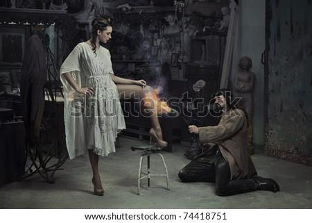 Conceptual photo of a hair removal - stock photo