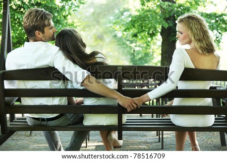 Conceptual photo of a marital infidelity - stock photo
