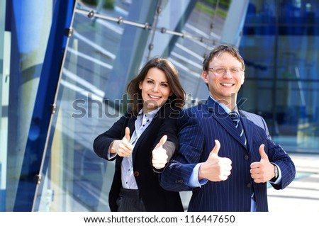 Conceptual photo of businessman and his female assistant - stock photo