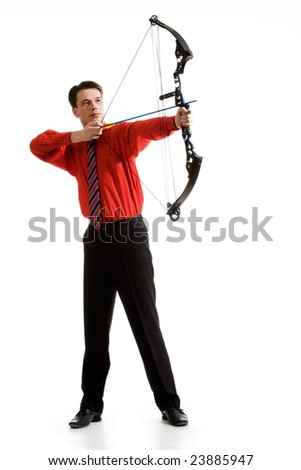Conceptual photo of confident archer targeting at his rival