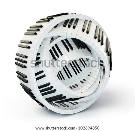 conceptual piano keys isolated on a white background - stock photo