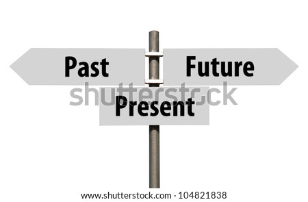 conceptual picture of a signpost with past, present and future isolated on white background (all signs cleaned on grey) - stock photo