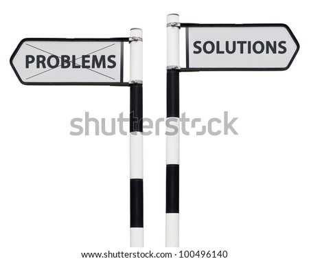 conceptual picture with solutions and problems road signs isolated on white background - stock photo