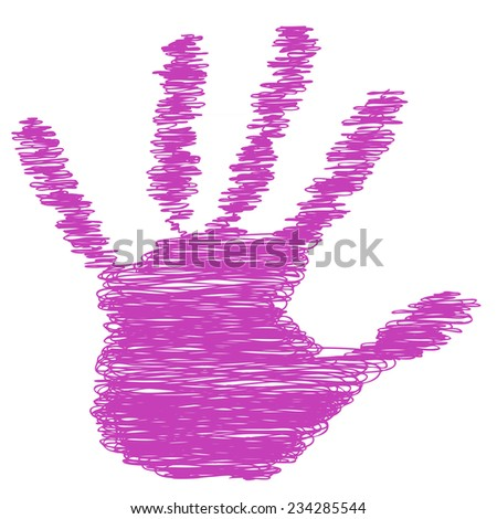 Conceptual pink painted drawing hand shape print isolated on white paper background, for handmade or manual, art, line, children, scribble, education, grungy or sketch design, made by a child - stock photo