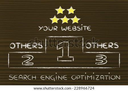 conceptual podium design about search engine optimization - stock photo