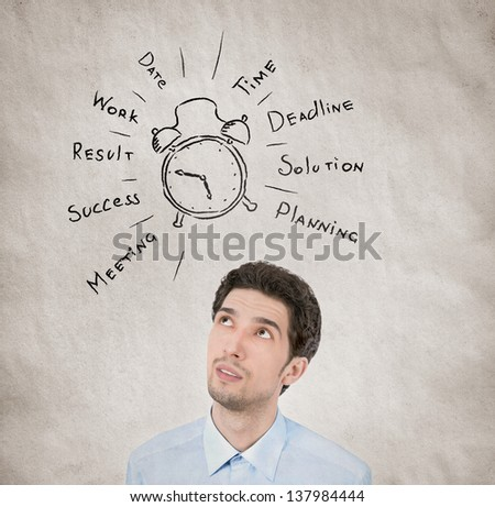 Conceptual portrait of businessman planning his working day wishes to succeed in personal growth on grunge texture background with grainy effect and vignetting