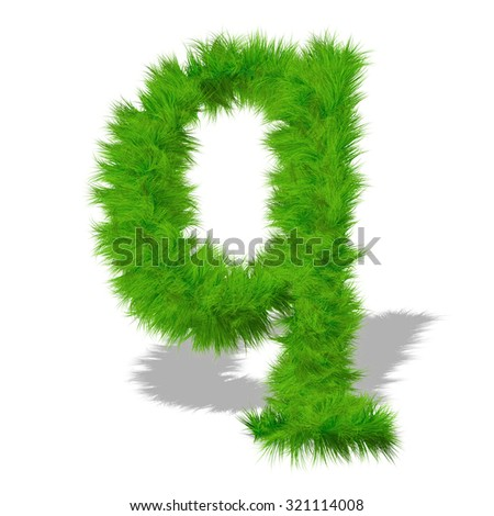 Conceptual q green grass, eco orecology font, part of a set or collection on white background for nature, summer, spring, alphabet, ecology, environment, plant, winter, ecological, conservation design