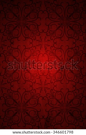 Conceptual red old paper background, made of grungy vintage texture stained dirty surface background ideal for holiday, Christmas, decoration retro design with a pattern, decoration ornament printed