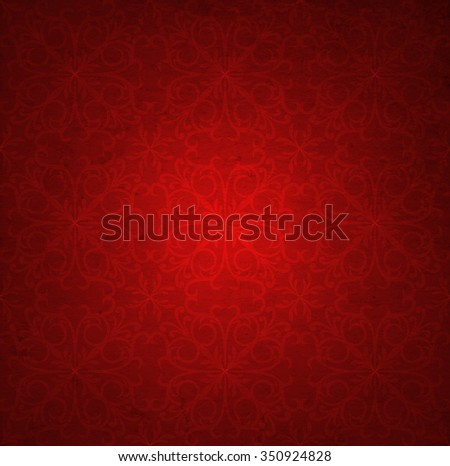 Conceptual red old paper background, made of grungy vintage texture stained dirty surface banner ideal for holiday, Christmas, decoration retro design with a pattern, decoration ornament printed - stock photo