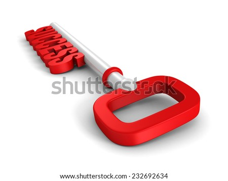 conceptual red success key on white background. 3d render illustration - stock photo